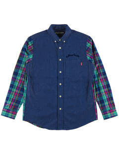 DENIM CHECK COMBI-SHIRT